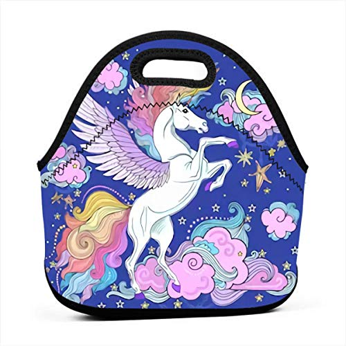 Cartoon Unicorn Among The Clouds And Stars Insulated Lunch Bag Tote For Adult/Kids - Reusable Soft Neoprene Personalized Lunchbox Handbag For Work/School/Picnic