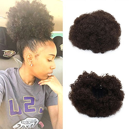 VGTE Beauty Synthetic Curly Hair Ponytail African American Short Afro Kinky Curly Wrap Synthetic Drawstring Puff Ponytail Hair Extensions Wig with Clips (#2) ()
