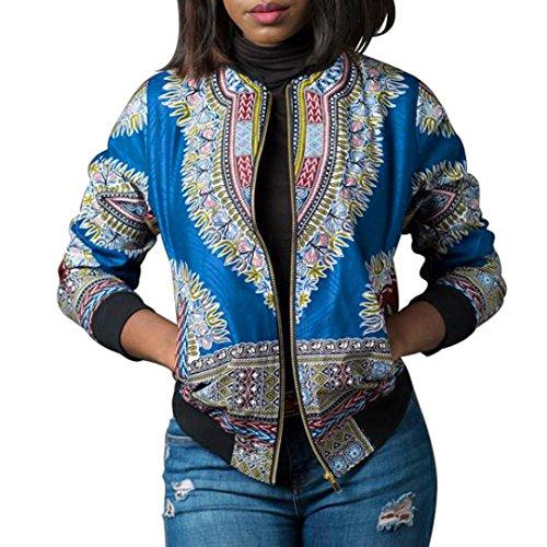- Women African Dashiki Long Sleeve Coat Biker Bomber Outwear Short Zip Up Jacket(Blue,x-large)