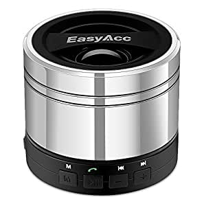 EasyAcc Mini Portable Rechargeable Bluetooth Speaker, Wireless Bluetooth Boxing Speaker for Smartphones, Tablets PC, Laptops, Ultrabook, with Microphone, Support Micro SD Card Playing & FM Function - Silver