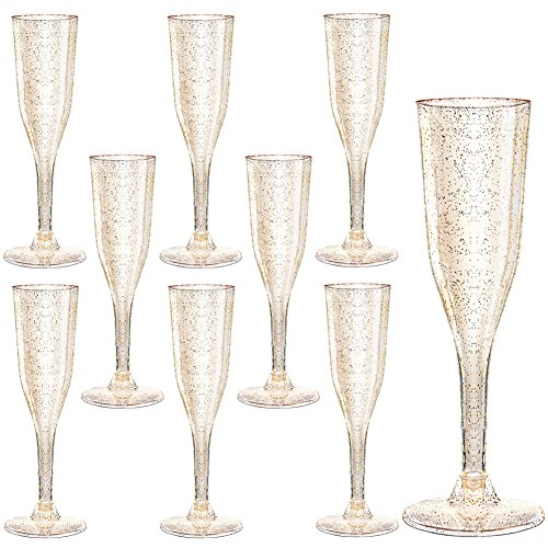 105 Pieces Plastic Champagne Glasses Gold Glitter, 5 Oz Plastic Champagne Flutes, Premium Disposable Clear Cups Prefect for Wedding and Party -