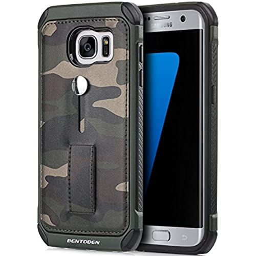 Galaxy S7 Edge Case, BENTOBEN [Camo Series] PU Leather with TPU Hybrid Dual Layer Camouflage Bumper with Built-in Sales