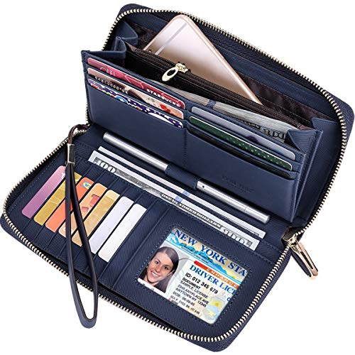 (Itslife Women RFID Leather Wristlet Wallets Zip Around Phone Checkbook Card Big Clutch Large Ladies Travel Purse (Stripe Blue))