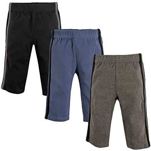 Hudson Baby Baby Cotton Pants, 3 Pack, Black, Blue/Gray, 18-24 Months (24M)