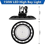 CINOTON 150W UFO LED High Bay Light ETL UL Approved 5' Cable with US Plug,Replacement for 600W HID/Hps, 22500 lumens 1-10V dimmable 5000K Daylight White, IP65 for Warehouse Workshop Wet Location