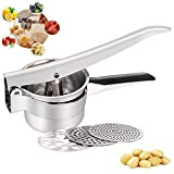 Potato Masher Ricer Fruit Press for Puree with 3 Interchangeable Discs- Ergonomic Comfort Handle Design for Food Press, Mash and Strain