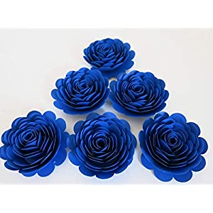 """Royal Blue Roses, Big 3"""" Blooms, Set of 6, Wedding Flowers, Bridal Shower Decor, Baby Nursery, Event Planning Floral Decorations, Always In Blossom, Handmade Paper Flowers 10"""