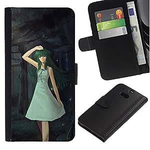 KingStore / Leather Etui en cuir / HTC One M8 / Lindo Fantasía Forrest Chica