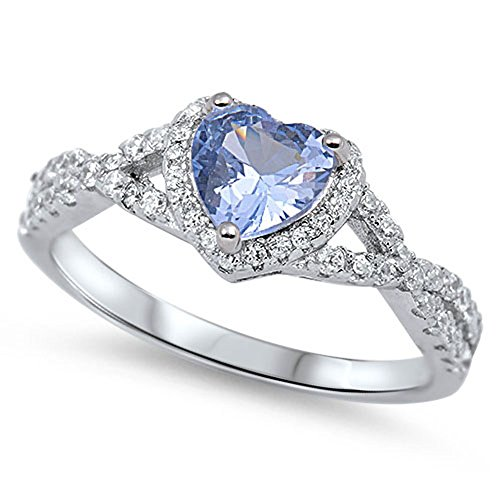 Heart Blue Simulated Aquamarine Halo Ring .925 Sterling Silver Infinity Knot Size 6