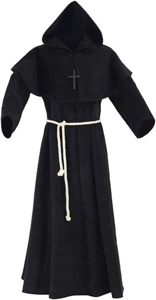 Traje Medieval Monk Vestuario Witcher con el Casquillo Capa Capa ...