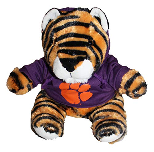 Mascot Factory Clemson Tiger 9 Inch Tall Tiger with Purple Hoodie Sweatshirt with Clemson Logo