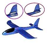 Eiito Throwing Foam Airplane BLUE, 2 Flight Mode Hand Launch Glider Plane inertia aircraft (Big 18.9 inch) Blue Kids Ourdoor Sports Toy Gift