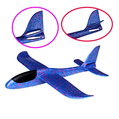 Eiito Throwing Foam Airplane BLUE, 2 Flight Mode Hand Launch Glider Plane inertia aircraft (Big 18.9 inch) Blue Kids Ourdoor Sports Toy Gift Hand Launch Glider