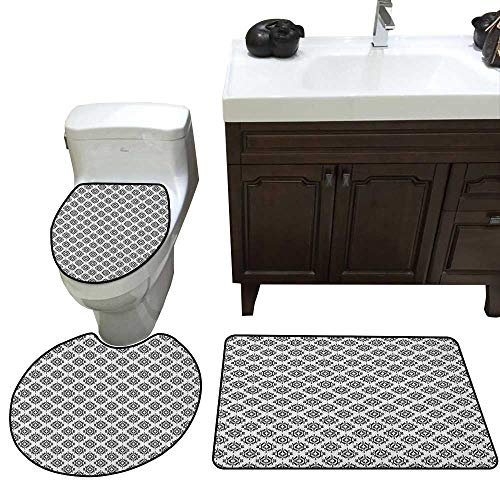 Native American Bath Mat 3 Piece Set Grunge Monochrome Motifs with Ancient Cultural Origins Indigenous Abstract Skidproof Toilet Seat Bathroom Floor Mat Black White