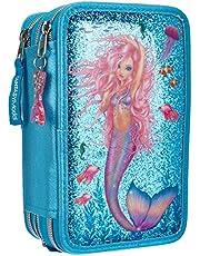 Depesche 10979 TOPModel Fantasy - Gevulde 3-voudige etui in Mermaid design, etui ca. 7,5 x 13 x 20 cm groot, met vilt- en kleurpotloden, liniaal, schaar, lijm, enz.