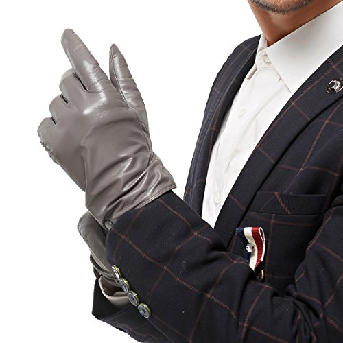 Nappaglo Men's Classic Lambskin Leather Gloves Touchscreen Pure Cashmere Lining Winter Warm Driving Mittens (XL (Palm Girth:9