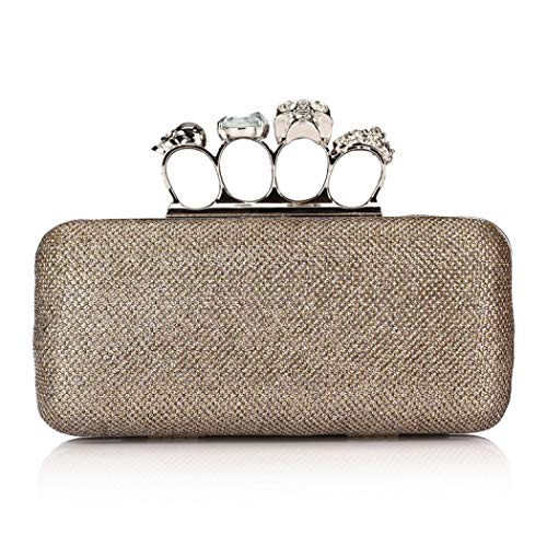 Onorner Rhinestone Handbag Purse Elegant Designer Evening Clutch Purse for Women (Gold 3655)