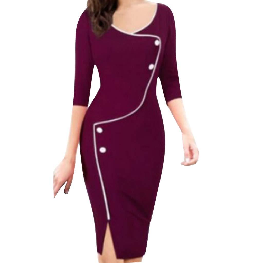 Women's Business Dress, Iuhan Women Casual V-Neck Split Party Pencil Slim Fit Dress Iuhan ®