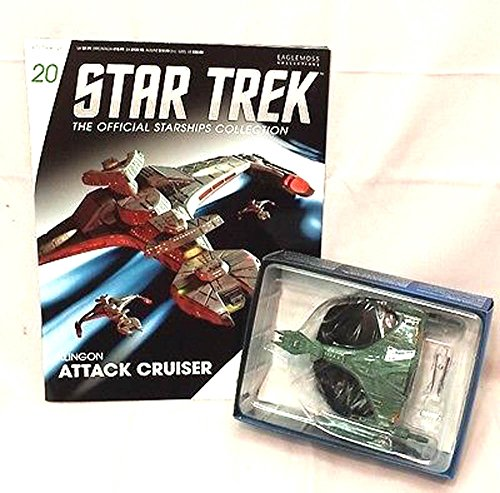 #20 Star Trek Klingon ATTACK CRUISER Die-Cast Metal Ship-UK/Eaglemoss w Mag
