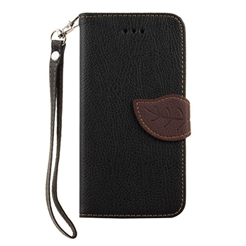 Ekakashop Housse Coque en Cuir Noir pour Apple iphone 5/5s, Motif de feuille d'arbre Boucle Flip Cover Case Cas Etui Portefeuille avec Support pour iphone 5s, Fermeture Magnetique Portefeuille Wallet