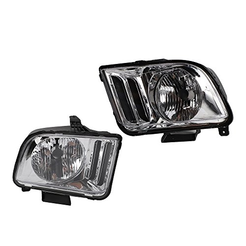 2PC Driver & Passenger Headlights Headlamps Set Replacement for 2005 2006 2007 2008 2009 Ford Mustang ()