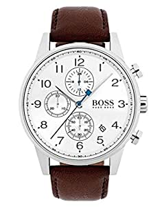 hugo Boss Navigator Men's White Dial Leather Band Watch - 1513495