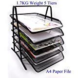 HAODE Fashion 5 Tiers Steel Mesh Document Tray, File Basket, Office Desk Organizer, Letter Tray Organizer, Desktop Document Paper File Organizer, Black