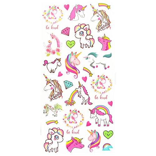 Set of 2 Waterproof Temporary Fake Tattoo Stickers Pink Unicorn Horse Cartoon Design Kids Child ()