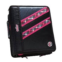 Case-it Z-Binder Two-in-One 1.5-Inch D-Ring Zipper Binders, Pink Plaid, Z-177-NEOPNK