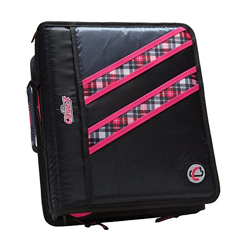 Case-it Z-Binder Two-in-One 1.5-Inch D-Ring Zipper Binders, Pink Plaid, Z-177-NEOPNK