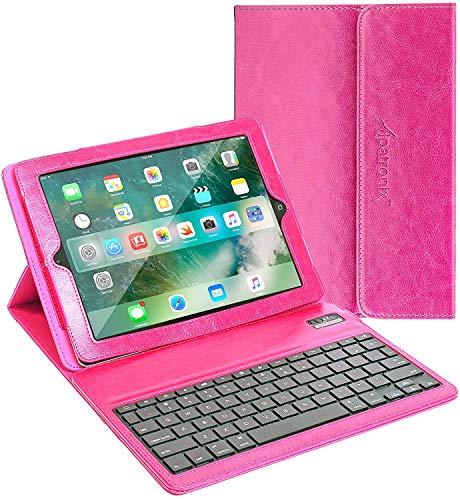 iPad 9.7 Keyboard Case, Alpatronix KX130 Leather Folio Cover w/ Wireless Bluetooth Keyboard, Auto Wake/Sleep & Stand Compatible for 2018 iPad 6, 2017 iPad 5, iPad Pro 9.7-inch and iPad Air 2/1 - Pink