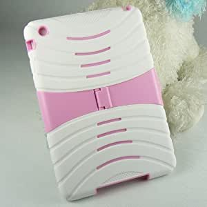 Mocase Armor Case with Stand, 2 Layers Protection Impact Skin Case Cover for Ipad Mini (White/Pink)