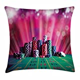 Lunarable Poker Tournament Throw Pillow Cushion Cover, Stack of Gambling Chips Success and Wealth of Winner with Lucky Betting, Decorative Square Accent Pillow Case, 28 X 28 inches, Multicolor