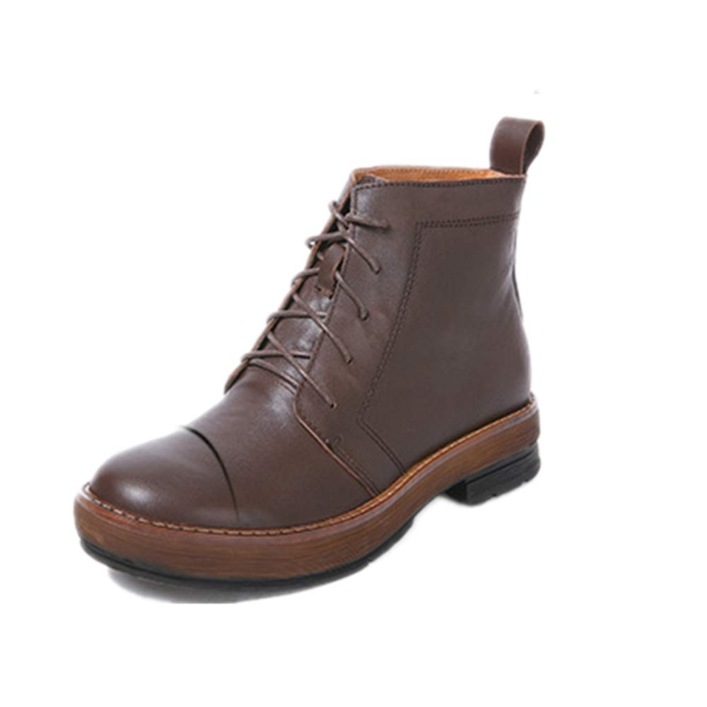 Fuxitoggo Martin Stiefel Damen Schnürschuhe Knöchel Leder Flache Schuhe (Farbe   Braun, Größe   EU 38)