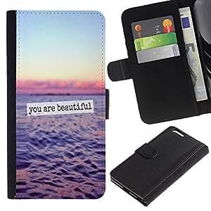 KLONGSHOP / Tirón de la caja Cartera de cuero con ranuras para tarjetas - Beautiful Ocean Sunset Sky Text - Apple iPhone 6 PLUS 5.5