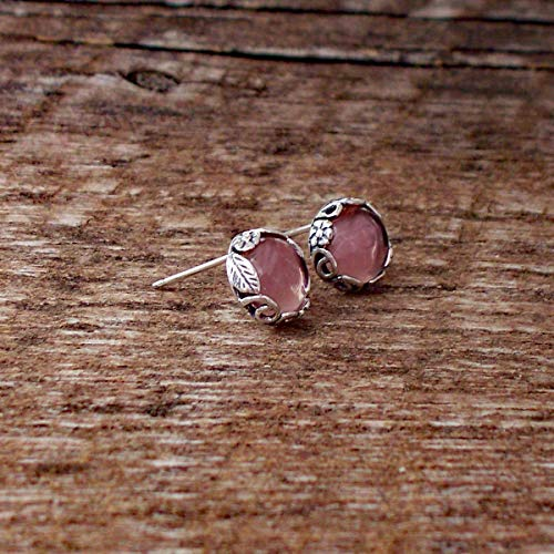 (Recycled Antique Pink Depression Glass Sterling Silver Botanical Collection Stud Earrings)