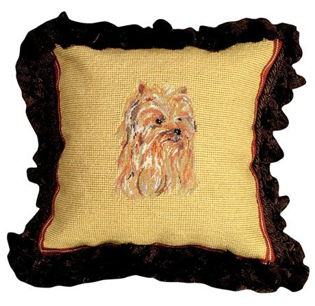 Deluxe Pillows Yorkie 12 x 12 Mixed-Stitch inches needlepoint pillow