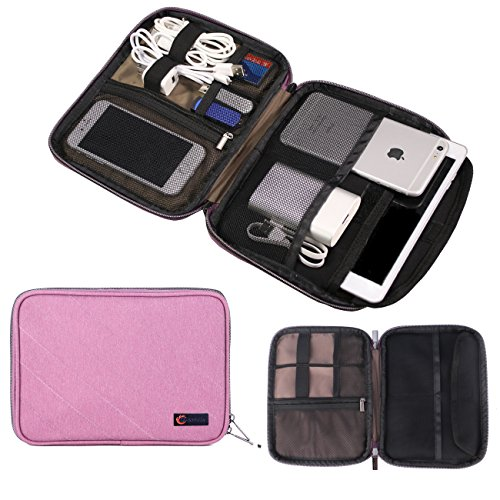 Water-Resistance Small Travel Electronics Cable Organizer Bag, Portable Sleeve Pouch for iPad, Electronics Accessories Case by Q-Smile - Notebook Power Cord Kit