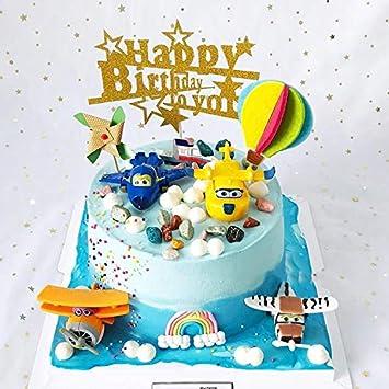 10 Happy Birthday Cake Topper Gold Cupcake Picks Smash Candle