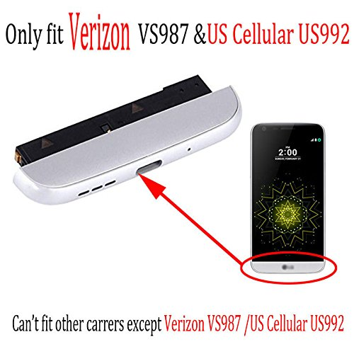 Only fit VS987 & US992 Bottom Cover Cap + Loudspeaker Ringer Buzzer + Charging Module Bottom Chin Replacement for L G Verizon G5 /US Cellular US992 (silver) by SOMEFUN