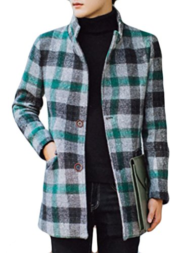 (BU2H Men's Stand Collar Plaid Long Sleeve Wool Blend Pea Coat Green US XL)
