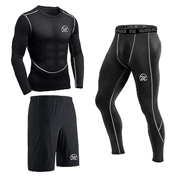 3d3fccca58 MEETEU Men's Compression Underwear Set, Quick Dry Sports T Shirt, Gym  Leggings for Running