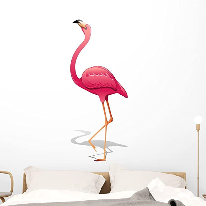 Wallmonkeys Pink Flamingo Pink Flamingo Vector Wall Decal Peel And Stick Graphic 48 In H X 48 In W Wm209116 Furniture Decor