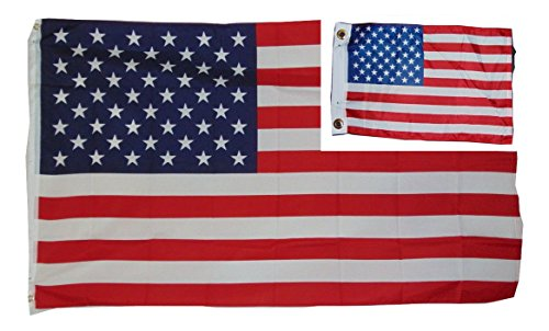 Bundle of Two Flags U.s.a. 50 Star Flag 3 X 5 Feet and 12x18