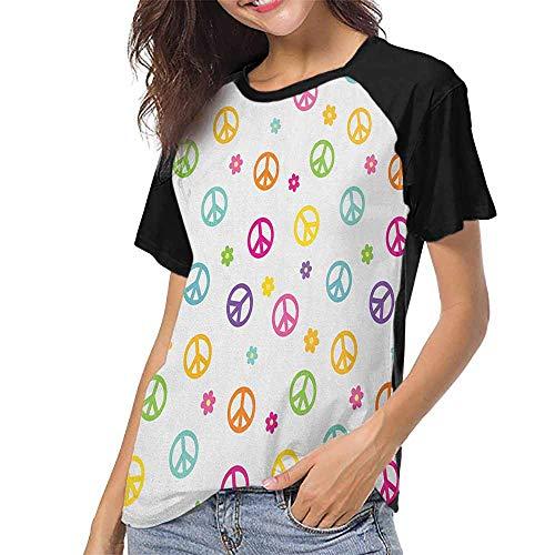 - Groovy,Women Fashion Shirts S-XXL(This is for Size Extra Extra Large) Peace Symbol Lifestyle Sign Slogan Celebration Merry Jolly Happy Theme Artful De,Raglan Baseball Tee Short Sleeve