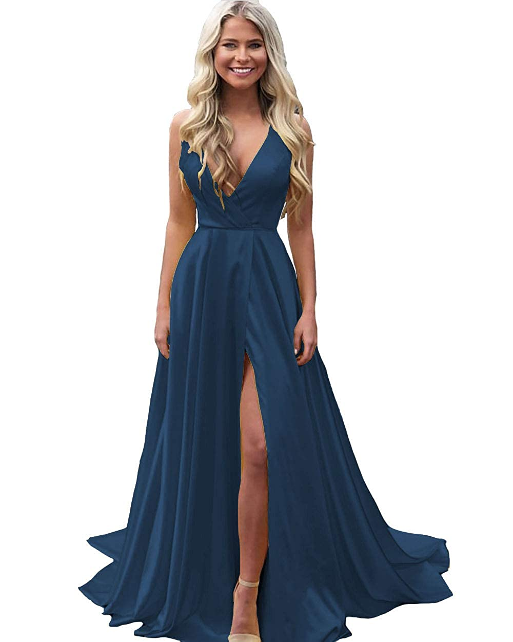Navy bluee IVYPRECIOUS Women's V Neck Sexy Prom Dresses A Line Side Split Long Formal Evening Gowns