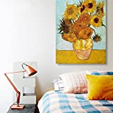 """Famous Oil Paintings Sunflowers by Vincent Van Gogh Canvas Art Reproduction Wooden Framed and Stretched Artwork Prints Home Wall Decor for Living Room Ready to Hang 12x16"""" (Sunflower Oil Painting)"""