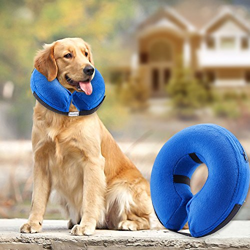 Protective Inflatable Collar for Dogs and Cats - Soft Pet Recovery Collar Does Not Block Vision E-Collar (Large)