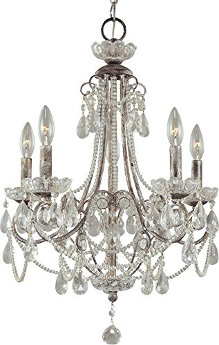 Minka Lavery Crystal Chandelier Lighting 3134-207, Mini Candle, 5 Light, 300 Watts, Silver (Chandeliers Crystal Silver Mini Distressed)