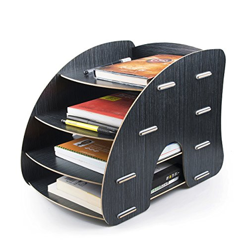 DIY Desk File Organizer, 4 Tiers A4 Document Magazine Letter Sorter Slot Cabinet for Home Office Table Desktop Tidy Woody Silver black, by LC (Tier Desktop Magazine Holder)